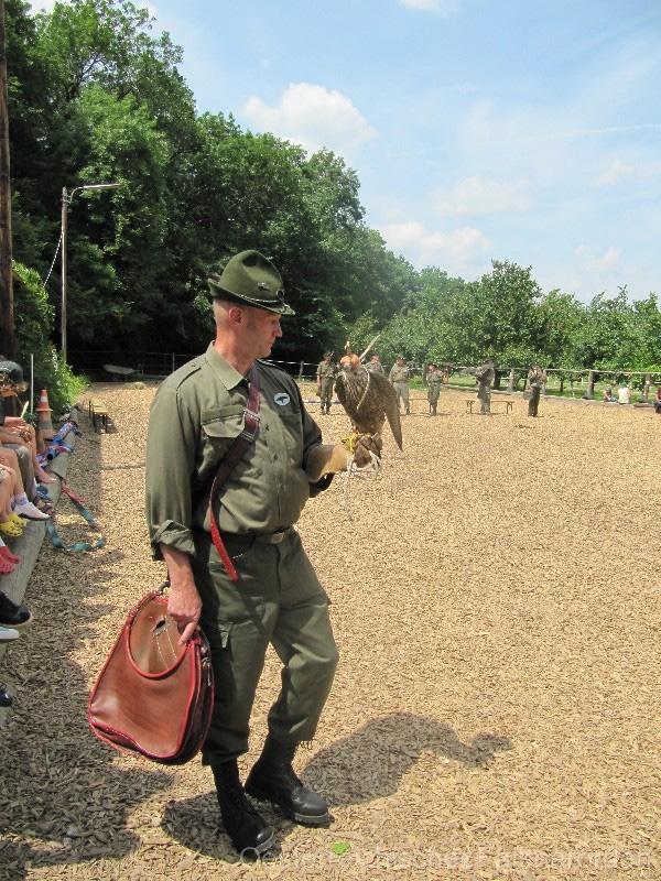 Gerhard bringt den Kindern den jungen Wanderfalken näher