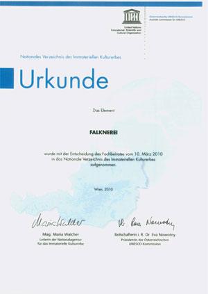 UNESCO Urkunde